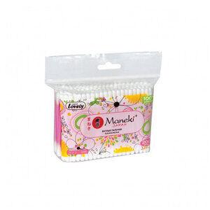 """Палочки ватные гигиен. """"Maneki"""" Lovely, с розовым пластиковым стиком, в zip-пакете,200шт"""