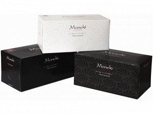 "Салфетки бумажные ""Maneki"" Black&White BLACK с ароматом жасмина, 2 слоя, белые, 224 шт./коробка"