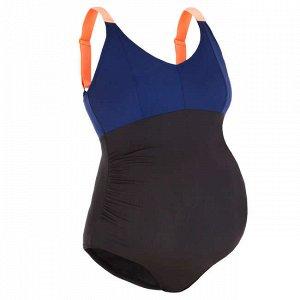 Купальник слитный женский для аквагимнастики для беременных черно-синий