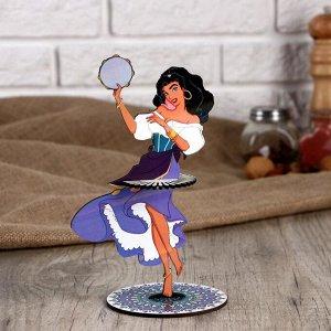 """Салфетница """"Девушка танцовщица с Бубном"""", цветная наклейка"""