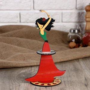 """Салфетница """"Девушка танцовщица Танго"""", цветная наклейка"""