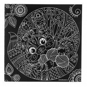 Гравюра «Котик» с металлическим эффектом «серебро», 18,5 х 18,5 см