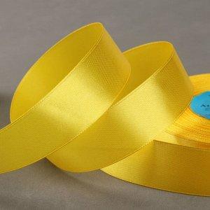 Лента атласная, 25 мм ? 33 ± 2 м, цвет жёлтый №128