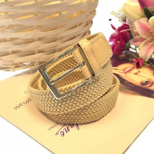 Женский текстильный плетеный ремень-резинка Charlotta цвета шампань, длина 101 см.