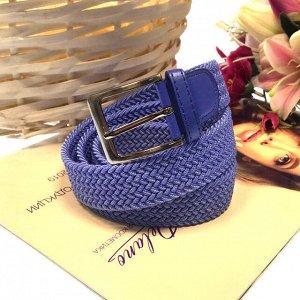 Женский текстильный плетеный ремень-резинка Charlotta небесно-голубого цвета, длина 101 см.