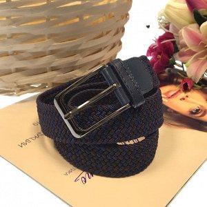 Женский текстильный плетеный ремень-резинка Charlotta шоколадно-синего переплетения, длина 101 см.