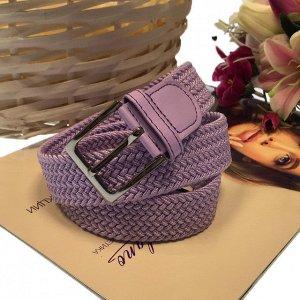 Женский текстильный плетеный ремень-резинка Charlotta нежно-пурпурного цвета, длина 101 см.