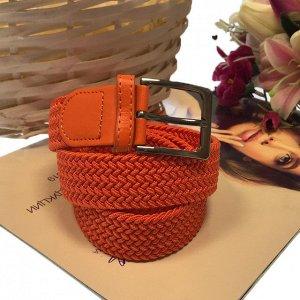 Женский текстильный плетеный ремень-резинка Charlotta цвета спелого апельсина, длина 101 см.