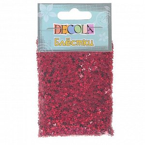 Декор блёстки ЗХК Decola 0.4 мм, 20 г, «Звёзды», красный радужный