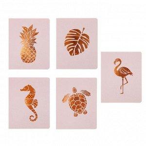 Тетрадь 48 листов в клетку «Золотая природа», обложка мелованный картон, двойной УФ-лак, тиснение, блок офсет, МИКС