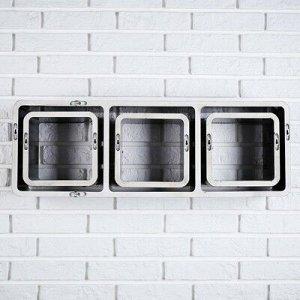 Набор настенных полок 1+3, черные (большая 75*26см, 3 малых 20*20см)