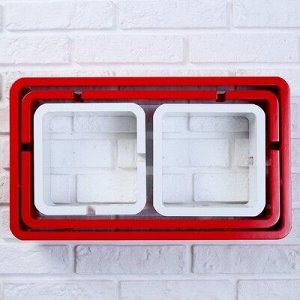 Набор настенных полок 4шт, красные, (большая 49*29см, средняя 46*24см, 2 малых 20*20см)