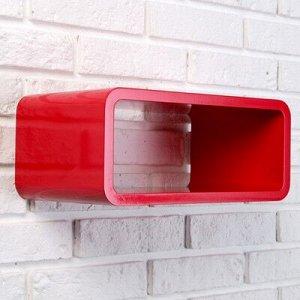 Полка настенная прямоугольная красная 35х20х15см