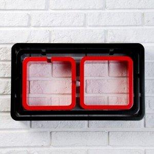 Набор настенных полок 4шт, черно-красные (большая 49*29см, средняя 46*24см, 2 малых 20*20см)