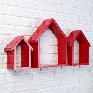 """Набор настенных полок """"Домики"""" красные 3шт, (36*32см, 31*25см, 25*18см)"""