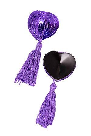 Пэстис Erolanta Lingerie Collection в форме сердец с кисточками однотонные фиолетовые