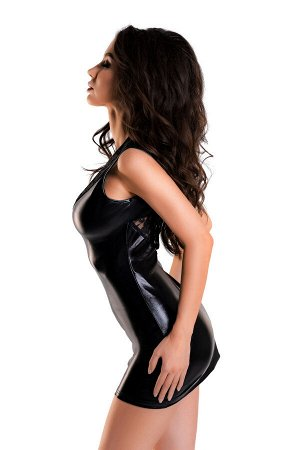 Платье Glossy Lulu из материала Wetlook, черное, L