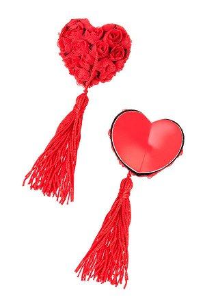 Пэстис Erolanta Lingerie Collection в форме сердец с розами и кисточками красные
