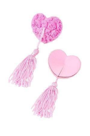 Пэстис Erolanta Lingerie Collection в форме сердец с розами и кисточками розовые