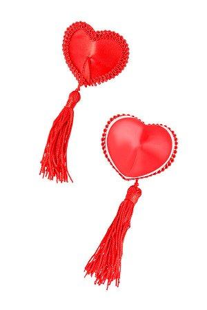Пэстис Erolanta Lingerie Collection в форме сердец с кисточками тканевые красные