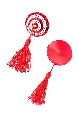 Пэстис Erolanta Lingerie Collection круглые с кисточками красно-белые