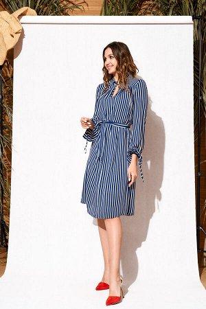 Платье синий/молочный/дизайн-полоска