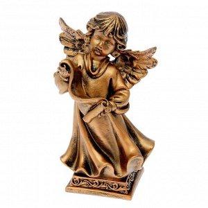 """Статуэтка """"Ангел с пергаментом"""" бронзовый цвет, 23 см"""