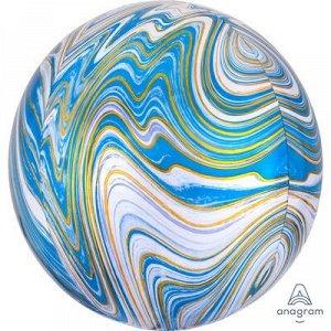 """1209-0326, 4139401 Шар 3D сфера, фольга,  15""""/38 см,  мрамор синий (AN), инд. уп."""