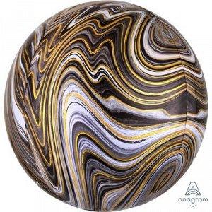 """1209-0330, 4139201 Шар 3D сфера, фольга,  15""""/38 см,  мрамор черный (AN), инд. уп."""