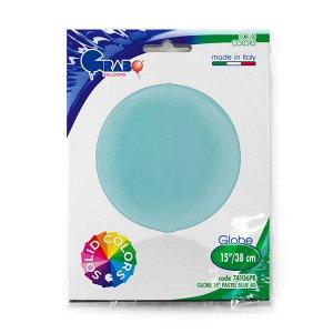 """1209-0275 Шар 3D сфера, фольга,  15""""/38 см, голубой матовый/Blue (GRABO), инд. уп."""