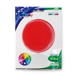 """1209-0277 Шар 3D сфера, фольга,  15""""/38 см, красный/Red (GRABO), инд. уп."""