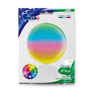 """1209-0285 Шар 3D сфера, фольга,  15""""/38 см, радужный/Rainbow (GRABO), инд. уп."""