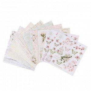 "Набор бумаги для скрапбукинга  ""Вишнёвый сад"" 20х20 см, 6 листов 190 гр/м2"