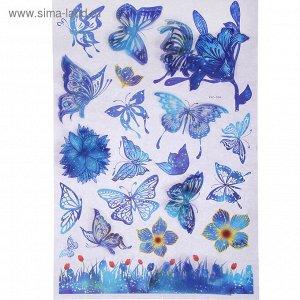 """Наклейка пластик 7D """"Бабочки"""" синяя 65х36 см"""