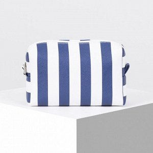 Косметичка дорожная, отдел на молнии, цвет синий/белый