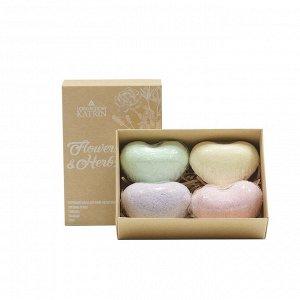 Набор бурлящих шаров для ванн Flowers & Herbs «Сердечки», 4 штуки по 60 г