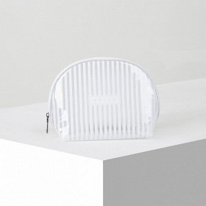 Косметичка ПВХ, глянец, отдел на молнии, цвет белый