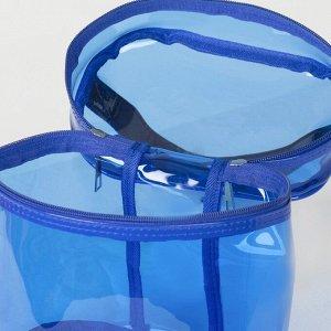 Косметичка ПВХ, отдел на молнии, с ручкой, цвет синий