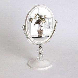 Зеркало настольное, двустороннее, с увеличением, зеркальная поверхность 11,7 ? 14,5 см, цвет белый/прозрачный