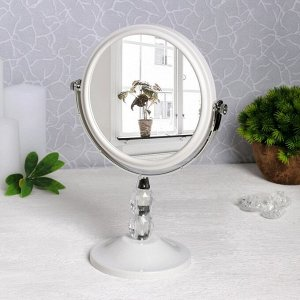 Зеркало настольное, двустороннее, с увеличением, d зеркальной поверхности 14,5 см, цвет белый