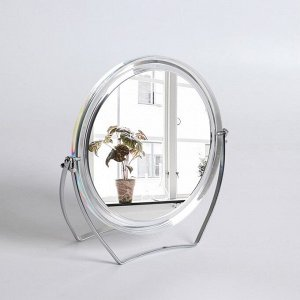 Зеркало настольное, на подставке, двустороннее, с увеличением, d зеркальной поверхности 12,5 см, цвет прозрачный