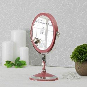 Зеркало настольное, двустороннее, с увеличением, d зеркальной поверхности 15 см, МИКС