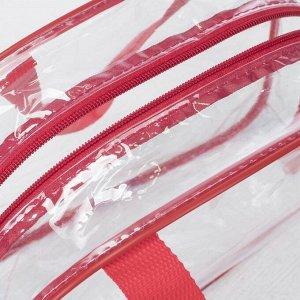 Косметичка ПВХ, отдел на молнии, 2 ручки, цвет красный