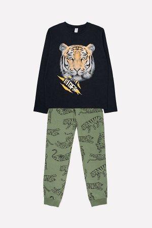 Комплект для мальчика КБ 2684 черный + тигры на бронзово-зеленом