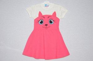 Платье Кошка коралловое.короткий рукав.
