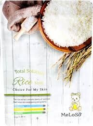 Meloso Total solution rice mask Маска тканевая с экстрактом риса, 25 гр