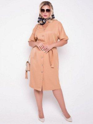Платье Летнее платье прилегающего кроя на пуговицах из кокоса. - однотонная расцветка - рукава цельнокроенные, на манжете - V-образный вырез горловины на внутренней обтачке - центр переда с застежкой