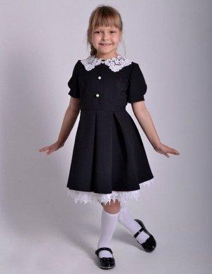 Школьное платье Милана с коротким рукавом Черное