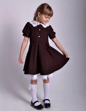 Школьное платье Милана с коротким рукавом Горький шоколад