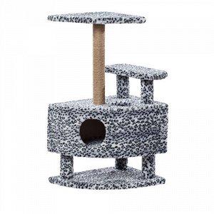 Пушок Когтеточка Комплекс Домик угловой со ступенькой на подставке 57*46*98см (1/1)